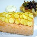 salmon con escamas de patata