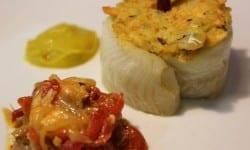 suquet de lenguado con vela iberica acompanado de pimientos con langostinos de sanlucar y crema de verduras