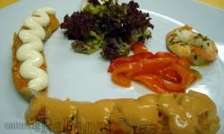 Rape alangostado en frio a las dos salsas guarnecido de langostinos de Sanlucar, ensalada de lollo rosso, endivias y tiras de pimiento rojo