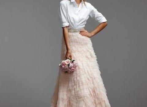 mangas cortas traje camisa de novia